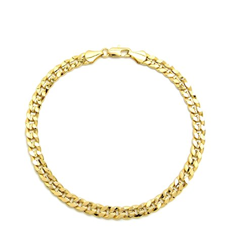 Fashion 21 Electro Gold Plated 10' Diversified Chain Anklet Foot Chain Bracelet in Gold Color (Made in Korea) (6mm 10' Concave Cuban Anklet)