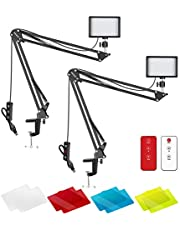 Neewer 2 Packs Upgraded LED Video Light with 433HZ Remote Control Kit: Dimmable 5600K USB 66 LED Light + Desktop Clamp Suspension Scissor Arm Stand for Live Streaming, Ball Head/Color Filter Included