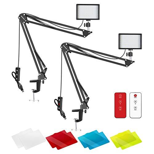 Neewer 2 Packs Luz de Video LED Mejorada con Kit de Control Remoto de 433 HZ LED Luz Regulabl 5600K USB 66 Soporte de Brazo de Tijera de Suspensión de Abrazadera de Escritorio para Transmisión en Vivo