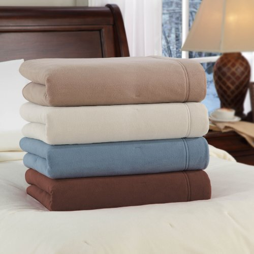 Soft Heat Luxury Micro-Fleece Low-Voltage Electric Heated Twin Size Blanket, Natural
