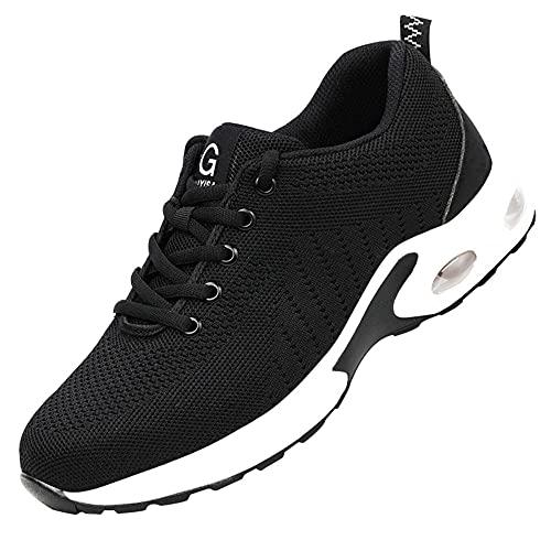 Zapatos con Punta de Acero para Hombres y Mujeres,Calzado de Trabajo con Punta de Acero Ligeros Transpirable Zapatillas de Seguridad,Black D▁47
