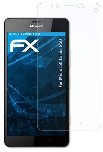 atFolix Schutzfolie kompatibel mit Microsoft Lumia 950 Folie, ultraklare FX Bildschirmschutzfolie (3X)