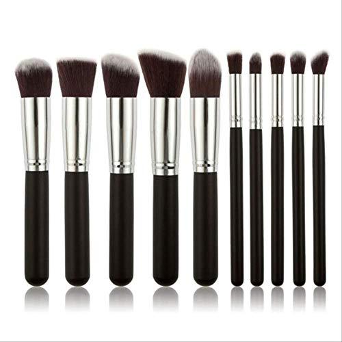 ASWE Foundation BrushLiquid Foundation Blush Eyeshadow Concealer Lip Gloss Set 10PCS-Black-Silver