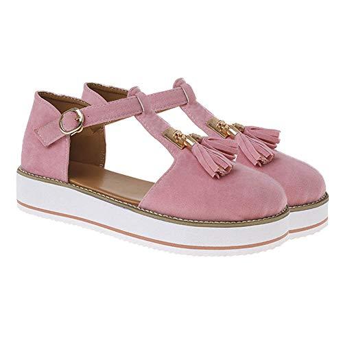 jdiw Sandalias de Mujer Tacón de Cuña Shoes Plataforma Verano Cuero Confort Baotou Borla Hebilla Sandalias Casuales Antideslizante Respirable Calzado