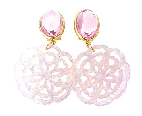 Sehr große leichte Ohr-Clips vergoldet Stein rosa Anhänger rund Fashion Dirndl Tracht Statement Party Fest elegant Geschenk Geburtstag Frauen Designer JUSTWIN