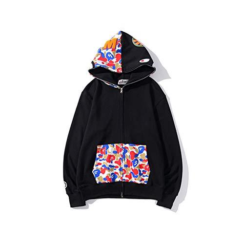 GEOOG Unisex Bape Ape Shark Camo Hoodie Fashion Casual Adolescente Adulti Maglione Completa Zipper Jacket,Nero,XL