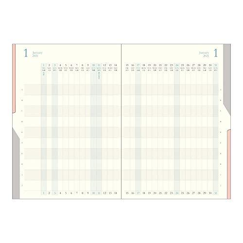 デザインフィルミドリダブルスケジュール手帳2021年A5マンスリー進行紺22049006(2020年10月始まり)