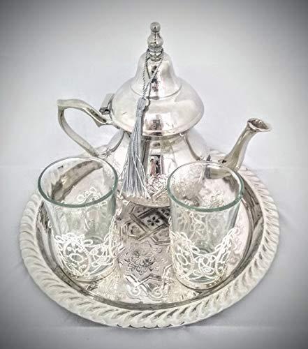 Mystery Souk Kompletter marokkanischer Teeservice mit typischen marokkanischen Gläsern, marokkanischer Teekanne und marokkanischem Tablett, für 2 Personen