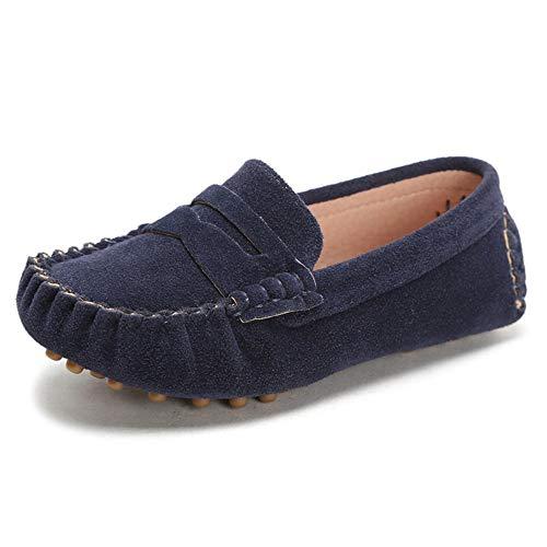 Battle Men Little Kids Penny Loafers Flat Heel Slip On Toddler's Shoes for Boys & Girls Causal Comfortable (Color : Blue, Size : 12.5 M US Little Kid)