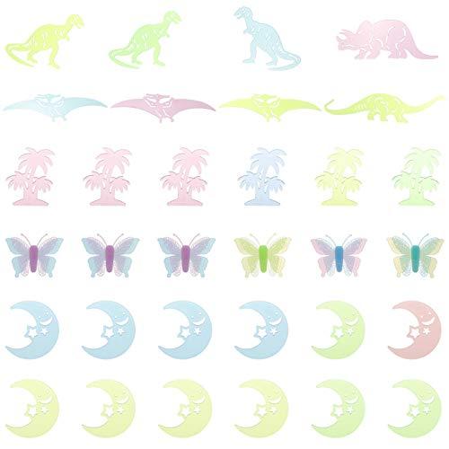 TOYANDONA 32 Stück Leuchten im Dunkeln Wandaufkleber Dinosaurier Mond Schmetterling Fenster Decke Aufkleber DIY für Weihnachten Geburtstagsfeier Wanddekoration