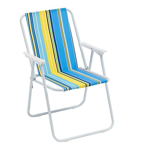 Sedia Pieghevole da Mare, Sedia Campeggio, Giardino, Spiaggia, Piscina, Sedia da Esterno Pieghevole Colorata, Colore Righe Azzurro 52x44x76 cm