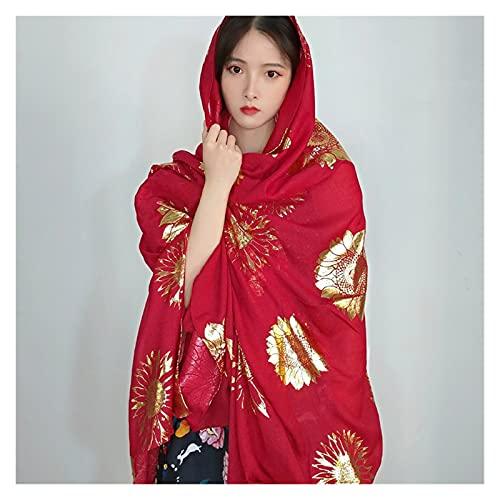 miaoyu 180 x 130 cm grande bufanda roja patrón de flores femenina vintage dorado primavera verano delgado protector solar bufanda Hijabs chales (color: rojo vino)