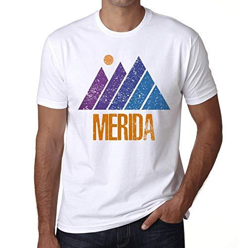 Hombre Camiseta Vintage T-Shirt Gráfico Mountain Merida Blanco