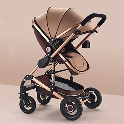 Spaziergänger Regenschirm faltbar, High View Pram Kinderwagen, Compact Cabrio Kinderwagen Kinderwagen-Speicher-Korb, große Sitzfläche (Farbe: braun) Judith (Color : Brown)