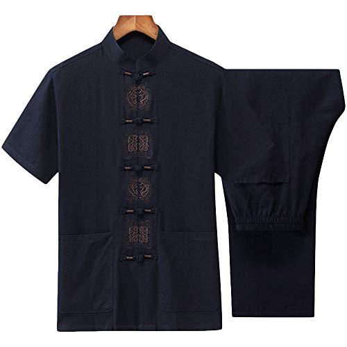 G-LIKE Herren Kungfu Tang Anzug - Traditionelle Chinesische Kampfkunst Tai Chi Wushu Qigong Kurzärmelig Gestickte Kleidung Trainingsanzug Freizeitkleidung Stehkragen Hemd Hose Uniform (Dunkelblau, XL)