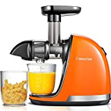 Cold Press Juicer,AMZCHEF Slow Masticating Juicer Machines with Reverse Function Anti-Clogging, Quiet Motor Juicer Extractor with Brush,Juicer Plastic Wrench, for High Nutrient Fruit & Vegetable Juice