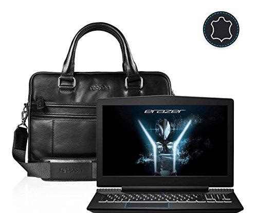 Leder Laptoptasche für Damen/Herren passend für Medion Erazer X6603   Schwarz