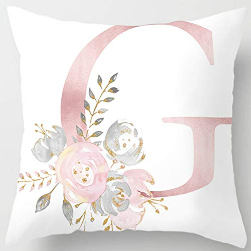 Eanpet Throw Pillow Covers Alphabet Decorative Pillow Cases ABC Letter Flowers Cushion Covers 18 x 18 Inch Square Pillow Protectors for Sofa Couch Bedroom Car Chair Home Decor,G