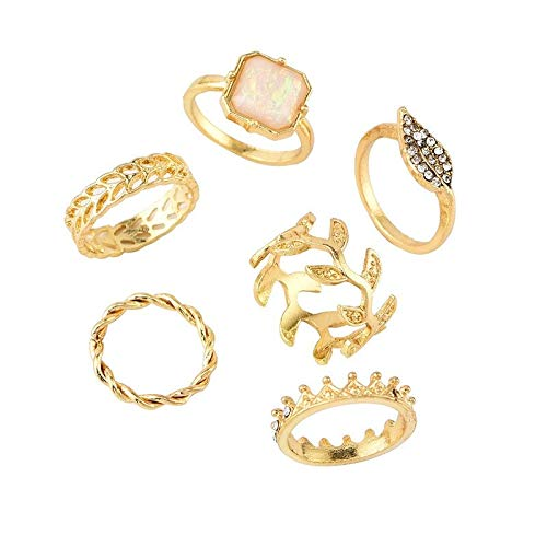 Logo WLYX Personalizada de la Hoja Completa Corona de Diamantes Anillo Femenino Conjunto combinación de 6 Piezas de joyería Salvaje (Size : One Size)