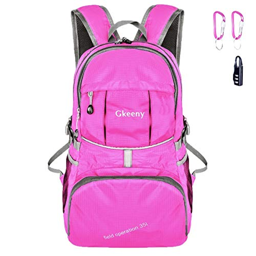 Gkeeny 35L Backpack, Lightweight Rucksack Foldable Hiking Daypack Packable Travel Day Backpack Bag for Unisex and Kids Camping Traveling Walking Cycling Climbing Jogging Day Trips (Pink)