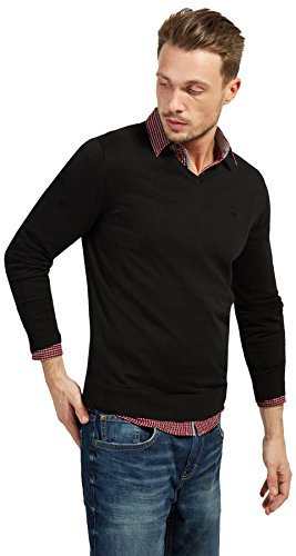 TOM TAILOR Herren Basic V-Neck Pullover, Schwarz (Black 2999), Large
