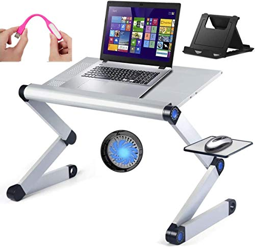 """Adjustable Laptop Stand with Cooling Fan and Mouse Pad, Upgraded Table Sturdy for Bed & Couch Large 19"""" Foldable Aluminum Desk Ergonomic with Cellphone Holder & USB Light Great Birthday Gift (Silver)"""