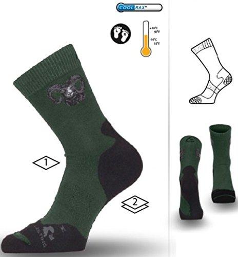 LASTING SPORT Chaussettes de chasse Coolmax - Vert - Unisexe, vert/noir, M= 38-41