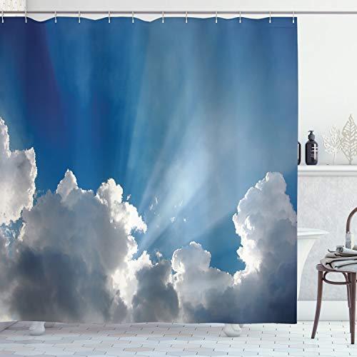 ABAKUHAUS Landschaft Duschvorhang, Himmel-Wolken Sonnenstrahlen, Digital auf Stoff Bedruckt inkl.12 Haken Farbfest Wasser Bakterie Resistent, 175 x 200 cm, Blau-weiß