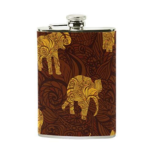 COOSUN Olifanten in Indiase stijl Drinkfles met PU leder verpakt, RVS lek bewijs Liquor Hip Flask, 8 oz