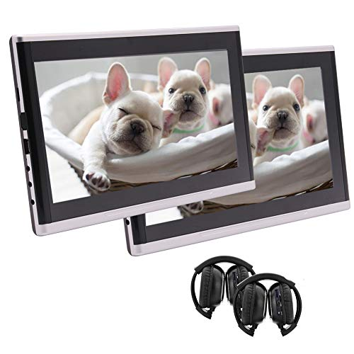 2 Headphones Included!!! Portable DVD Player with 10.1 inch Touch Screen,Headrest Monitors,Dual Screen DVD Player,Car Backseat Video Monitor Rear Seat Entertainment System HD 1080P with USB SD port