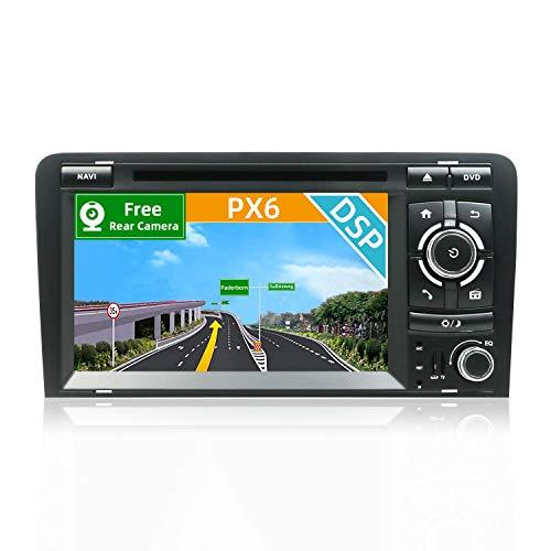 YUNTX [PX6+DSP] Android 10 Autoradio Passt für Audi A3 (2003-2011) - [4G+64G] - KOSTENLOSE Rückenkamera&Canbus - GPS 2 Din - Unterstützt GPS/DVD/DAB+/ Lenkradsteuerung/WiFi/Bluetooth/Carplay/USB