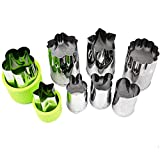 ONUPGO Vegetable Cutters Shapes Set - Cookie Cutters Fruit Mold Cheese Presses Stamps for Kids Shaped Treats Food Making Cute Cutouts for Customizing (8 Pack)