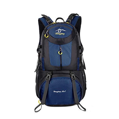 CXJC Sac à Dos De Randonnée Pédestre Nylon Water Resistang Randonnée Camping Travel Alpinisme pour Les Voyages Trekking Voyage Sac à Dos,Blue-50L