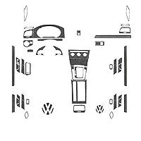 車の装飾ストリップステッカー VWのためにゴルフ7 2014-2019レアルカーボンインテリアエア・アウトレットダッシュボード機器パネルファイバーステッカーのためのコントロールパネルトリムを歓迎 (Color : 2014 to 2017 Low)
