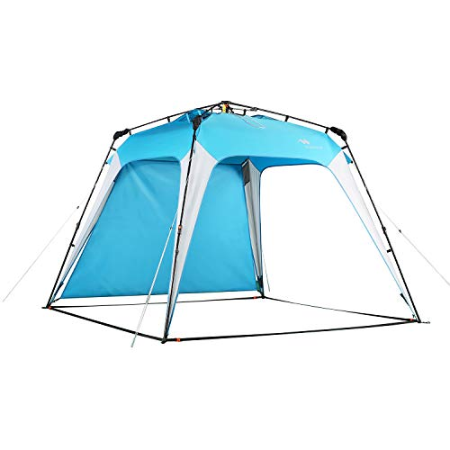 Mobihome Beach Canopy Sun Shelters Shade Tent Pop Up 8.2' X 8.2' - Instant Portable Sports Cabana Umbrella, Easy Set-up and Take Down, with Sun Protection and One Shade Wall Included; Blue