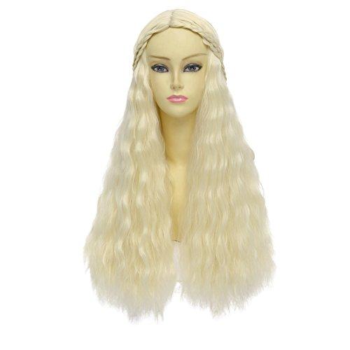 HH Building Cosplay Wig for Game of Thrones Daenerys Targaryen khaleesi Long Wavy Hair (Beige)