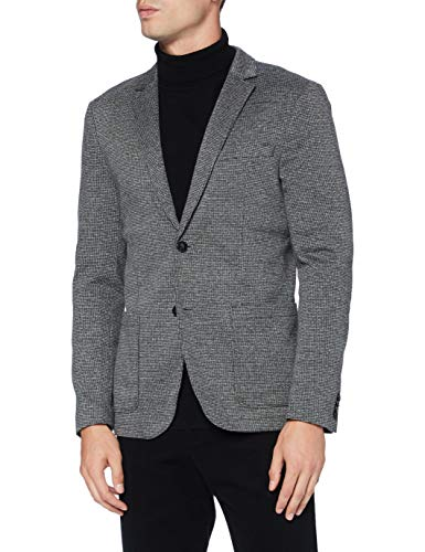 TOM TAILOR Herren Houndstooth Jersey Blazer, 19393-grey, 52