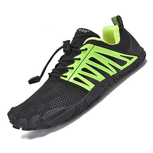 JACKSHIBO Herren Damen Traillaufschuhe Minimalistische Barfußschuhe 5 Five Finger Zehenschuhe Fahrradschuhe (Schwarz Grün,46EU)