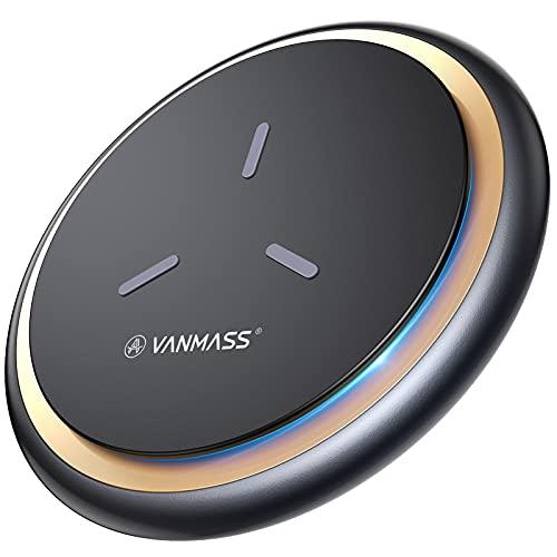 VANMASS Wireless Charger Ladepad [15W Ultra Sicher & Schnellladung] Qi Ladestation Kabellos Ladegerät (Ink. 1.2M Type-C Kabel) für Alle Qi Handys sowie iPhone 12/11/XS/X Samsung S21, Note20 Huawei usw