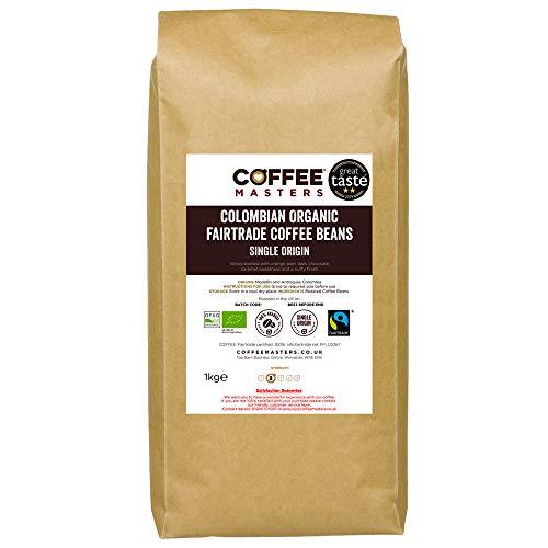 Coffee Masters Colombian Organic Fairtrade Coffee Beans - Great Taste Award Winner 2019