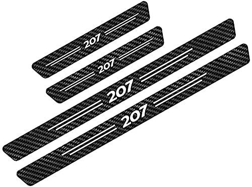 HOWWO 4 Piezas Fibra de Carbon Umbral Puerta Decoración Estribos, para Peugeot 207 Coche Pegatina Protector Accesorios Impermeable Protección Deumbral Pedal