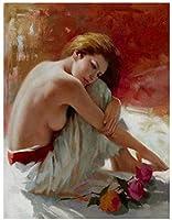 XTTGGD Diy5Dダイヤモンド絵画抽象芸術女性ラウンドラインストーンクロスステッチC刺繡アートキャンバスホームルーム装飾ギフト