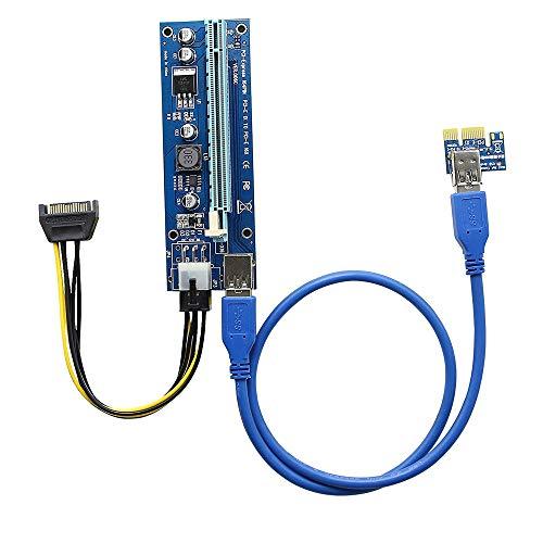 PCI-E Riser para minería, PCIE 1x a 16x Cable de extensión de tarjeta gráfica Adaptador de GPU USB 3.0 6-Pin PCIE a SATA Cable de alimentación para Bitcoin Litecoin Ethereum Mining ETH (60CM)