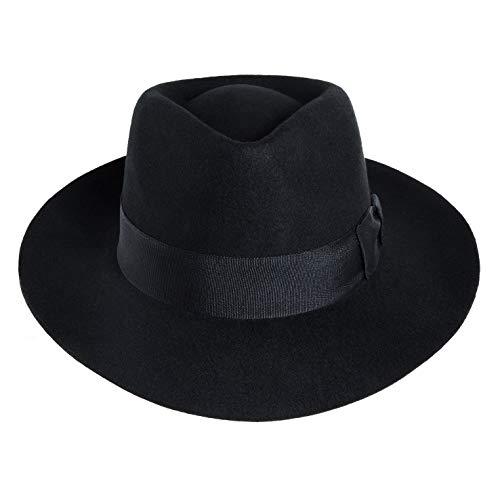 Xfang Michael Jackson Hut Fedora Hut Cosplay Kostüm Zubehör - Schwarz - Einheitsgröße