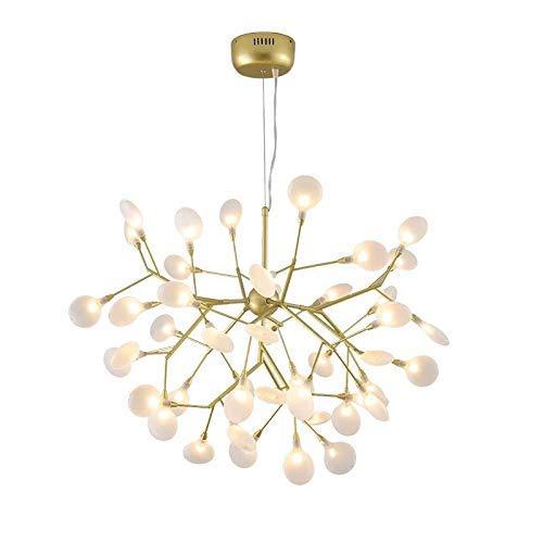 HXCD Lámpara de araña nórdica, luz Colgante de Rama led contemporánea, luz de Techo Colgante Interior Ajustable con Pantalla de Vidrio G4 (Incluye), luz Blanca de 45 Luces