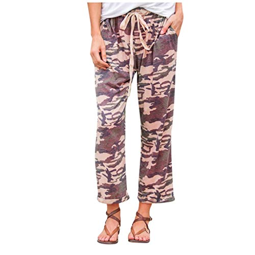 VEFSU Casual Pants with Straight Leg and Camo Pattern Thin Breathable Straight Pants Cropped Pants(Camouflage,XL)