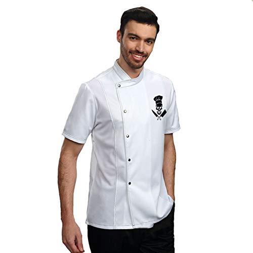 Bycloth Diseño del Logotipo del Cocinero de la Chaqueta, Transpirable de Manga Corta de Cook Uniforme Escudo de Cocina para Verano de Las Mujeres y los Hombres, Color Puro
