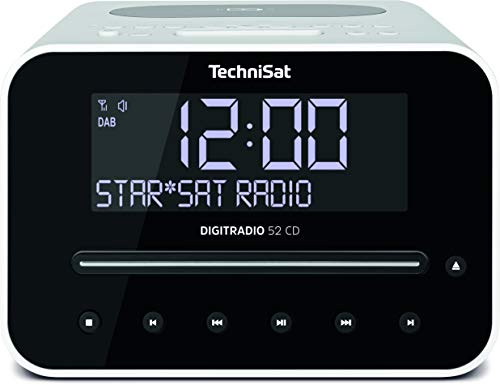 TechniSat Digitradio 52 CD Stereo DAB Radiowecker mit zwei einstellbaren Weckzeiten (DAB+, UKW, Snooze, Sleeptimer, dimmbares Display, Bluetooth, Wireless-Charging Funktion, CD-Player) weiß