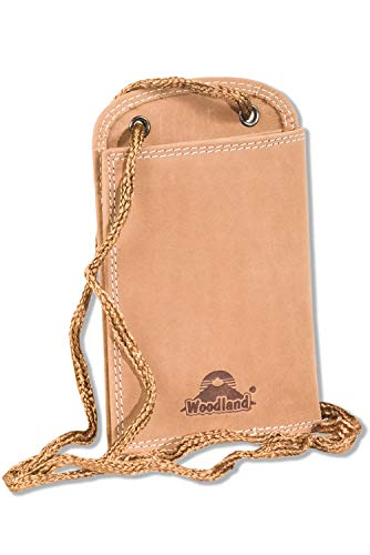Woodland® Praktischer Brustbeutel aus weichem, naturbelassenem Büffelleder in Hellbraun/Sand