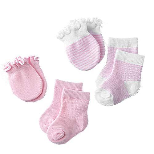Lowral 4 pares de calcetines para niños y bebés recién nacidos, antiarañazos, transpirable, elasticidad, protección facial, mitones de ducha, regalo
